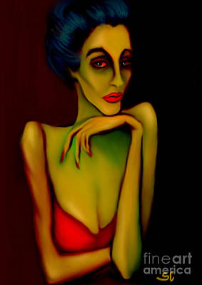 Expressionism Digital Art - Barfly by Shanina Conway