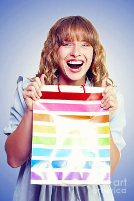Bargain Shopping Woman Laughing With Joy Art Print
