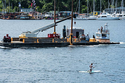 Photograph - Barge And Paddle Board by Tom Cochran