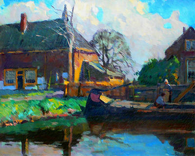 Nederland Mixed Media - Barge At The Farmhouse by Nick Diemel