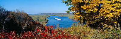 Boat Basins Photograph - Barge On Mississippi River In Autumn by Panoramic Images