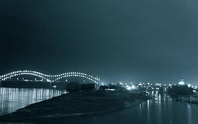 Barge On Mississippi River With Hernando De Soto Bridge, Memphis, Tn Art Print by Art Spectrum
