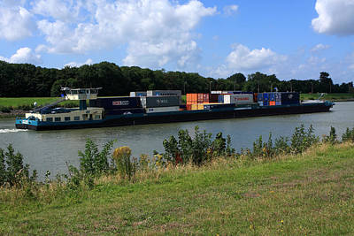 Rotterdam Photograph - Barge On The Canal by Aidan Moran