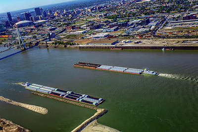 Photograph - Barge Traffic On The Mississippi At St Louis Dsc08757 by Greg Kluempers