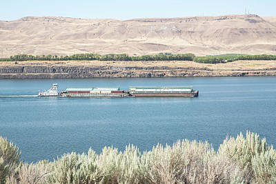 Photograph - Barges Heading Upriver by Tom Cochran