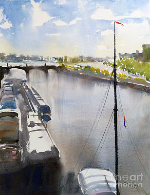 Bir Painting - Barges On The River Seine by David Massey