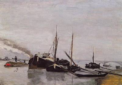 Boating On The Seine Painting - Barges On The Seine At Bercy by Armand Guillaumin