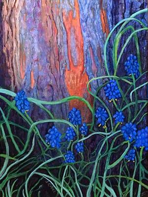 Wall Art - Painting - Bark And Bluebells by Laura Gabel