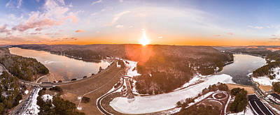 Art Print featuring the photograph Barkhamsted Reservoir And Saville Dam In Connecticut, Sunrise Panorama by Petr Hejl