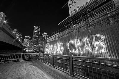 Photograph - Barking Crab And Skyline Boston Ma Black And White by Toby McGuire