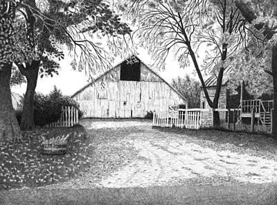 Fence Drawing - Barn 20 by Joel Lueck