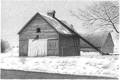 Farm Scene Drawing - Barn 26 by Joel Lueck
