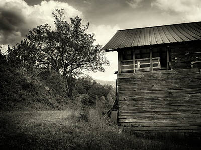 Photograph - Barn After Rain In Sepia by Greg Mimbs