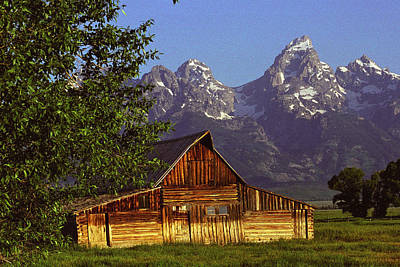Barn Against Tetons Art Print