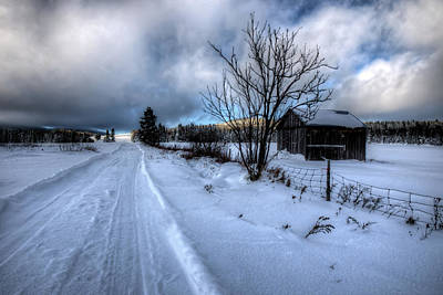 Barn Along Snow Covered Road Original by Mike Deutsch