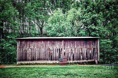 Wood Pallet Flag Photograph - Barn And American Flag by John Myers