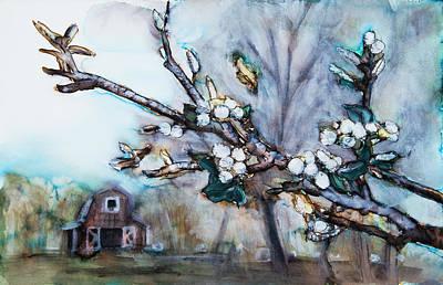 Barn And Blossoms Print by Tara Thelen