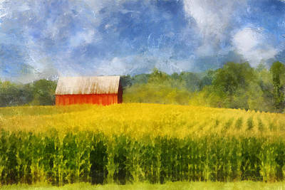 Digital Art - Barn And Cornfield by Francesa Miller