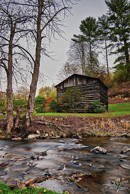 Photograph - Barn And Creek by David A Lane