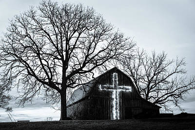 Photograph - Christmas Light Cross On Barn by Gregory Ballos