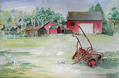 Barn And Cultivator Art Print