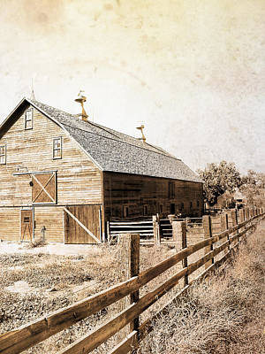 Photograph - Barn And Fence Sepia -textured Photo Art  by Ann Powell