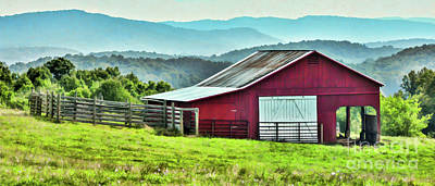 Photograph - Barn And Mountains by Kerri Farley