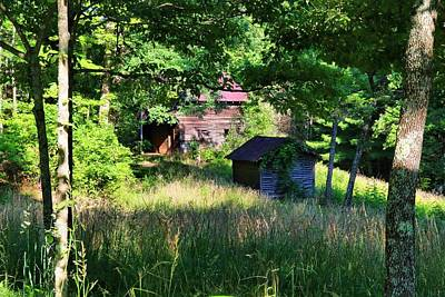 Photograph - Barn And Shed Through The Trees by Kathryn Meyer