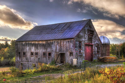 Country Scenes Photograph - Barn And Silo In Autumn by Joann Vitali