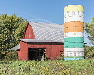 Barn And Silo.  Art Print