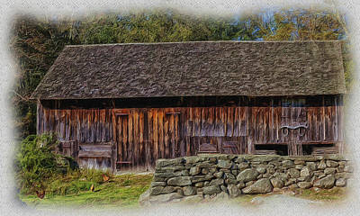 Photograph - Barn And Stone Wall by Ericamaxine Price