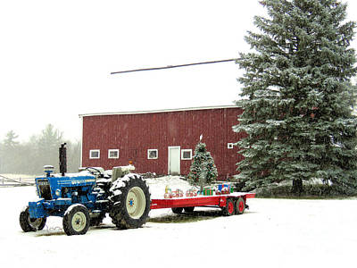 Photograph - Barn And Tractor Holiday Scene by Janice Drew