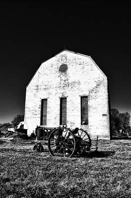 Barns Digital Art - Barn And Tractor In Black And White by Bill Cannon
