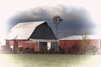 Photograph - Barn And Windmill by Erica Hanel