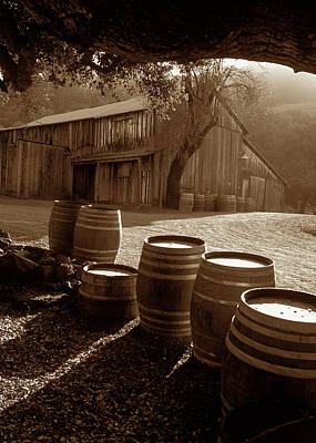 Kathy Yates Photograph - Barn And Wine Barrels 2 by Kathy Yates