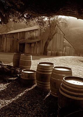 Barn And Wine Barrels 2 Print by Kathy Yates