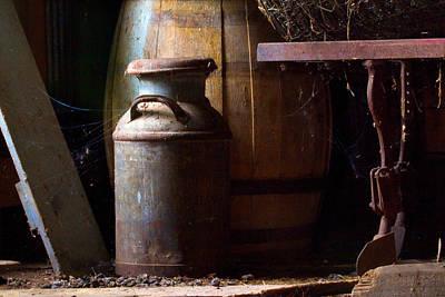 Old Milk Jugs Photograph - Barn Art by Jim Finch