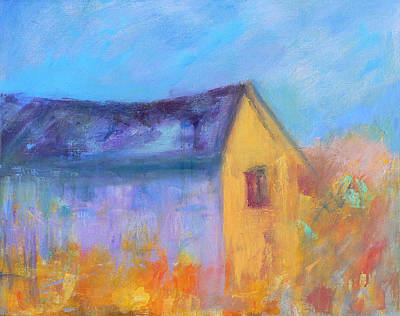 Contemporary Barn Landscape Painting - Barn At Dawn by Jacquie Gouveia