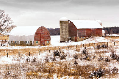 Barns In Snow Photograph - Barn At Lake Wobegon by Ken Wolter
