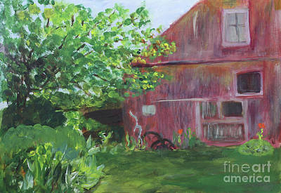 Painting - Barn At Perennial Pleasures by Donna Walsh
