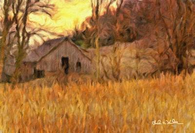 Cornfield Mixed Media - Barn At Sunset by Charles Wood II