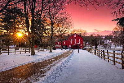 Barn At Sunset  Art Print