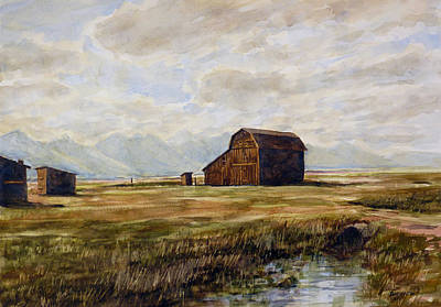 Painting - Barn At Teton Mountains by Carl Whitten