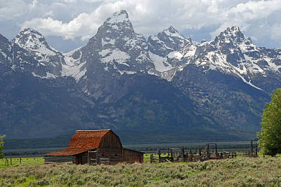 Photograph - Barn Beneath Grand Teton by Alan Lenk