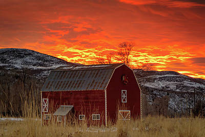 Art Print featuring the photograph Barn Burner Sunset. by Johnny Adolphson