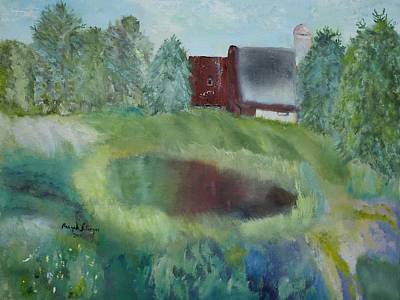 Painting - Barn By Pond by Aleezah Selinger