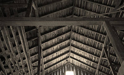 Photograph - Barn Ceiling In Sepia Tone by Brooke T Ryan