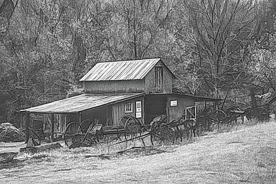 Photograph - Barn Collectibles On The Farm Black And White Pencil Sketch by Debra and Dave Vanderlaan