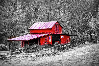 Photograph - Barn Collectibles On The Farm Red Barn In Black And White  by Debra and Dave Vanderlaan