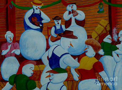 Painting - Barn Dancing Snowmen by Anthony Dunphy